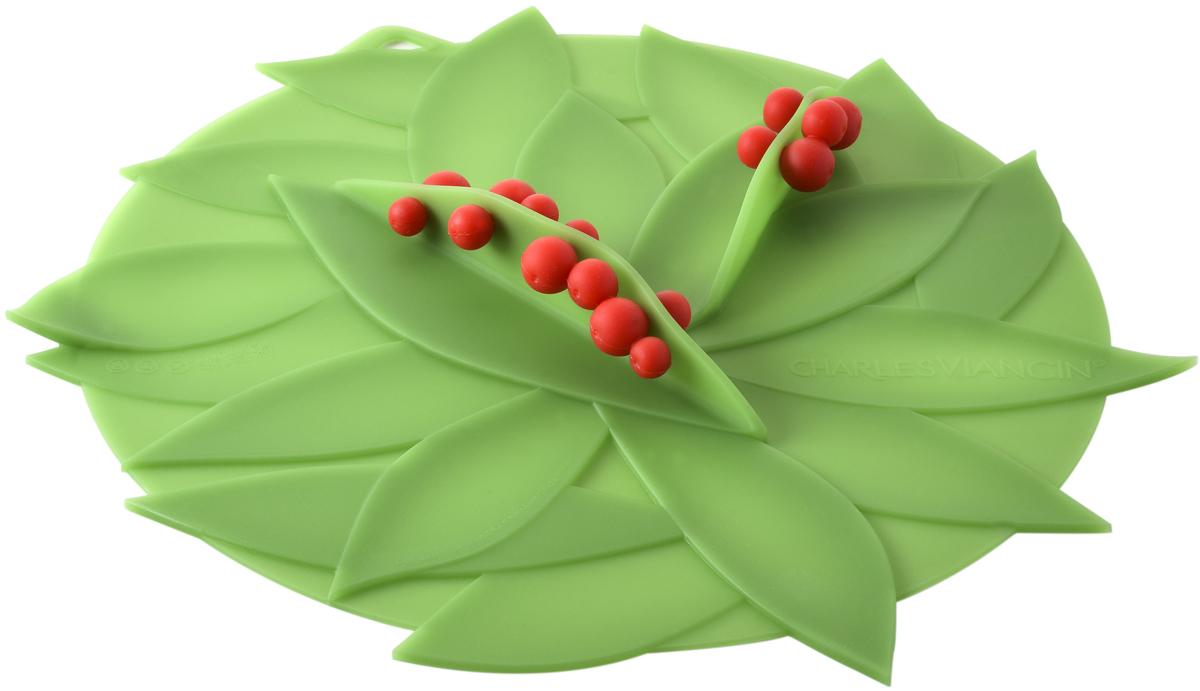 Крышка Charles Viancin Winterberry, цвет: зеленый. Диаметр 23 см5302Крышка герметична, привлекательна по дизайну и функциональна. Ее можно использовать в процессе приготовления пищи на плите, в микроволновой печи и в духовом шкафу. Подходит для посудомоечной машины. Можно использовать в холодильнике. Закроет любую емкость с гладким ободом.