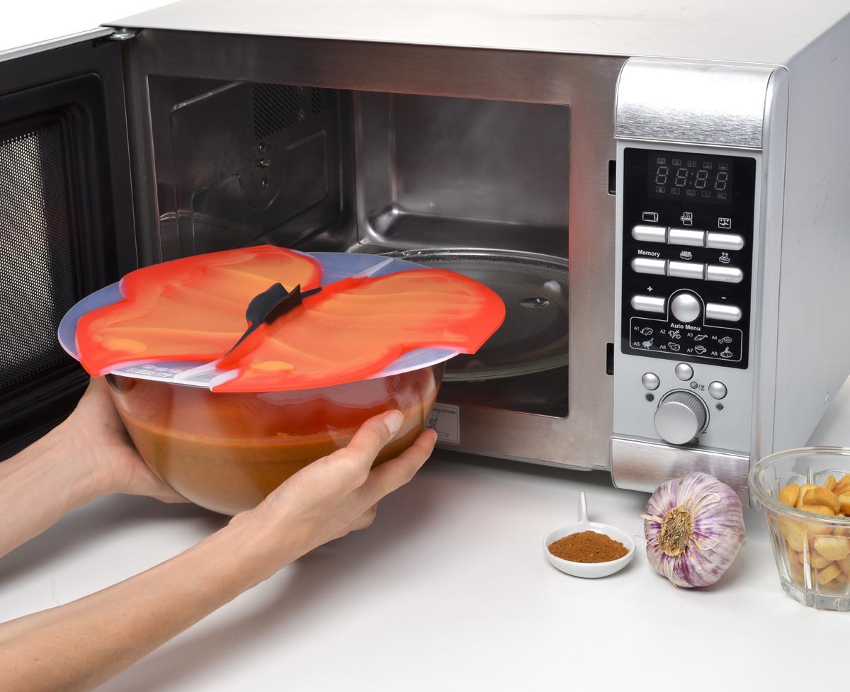 Крышка Charles Viancin Butterfly. Диаметр 20 см6603Крышка герметична, привлекательна по дизайну и функциональна. Ее можно использовать в процессе приготовления пищи на плите, в микроволновой печи и в духовом шкафу. Подходит для посудомоечной машины. Можно использовать в холодильнике. Закроет любую емкость с гладкими ободом.