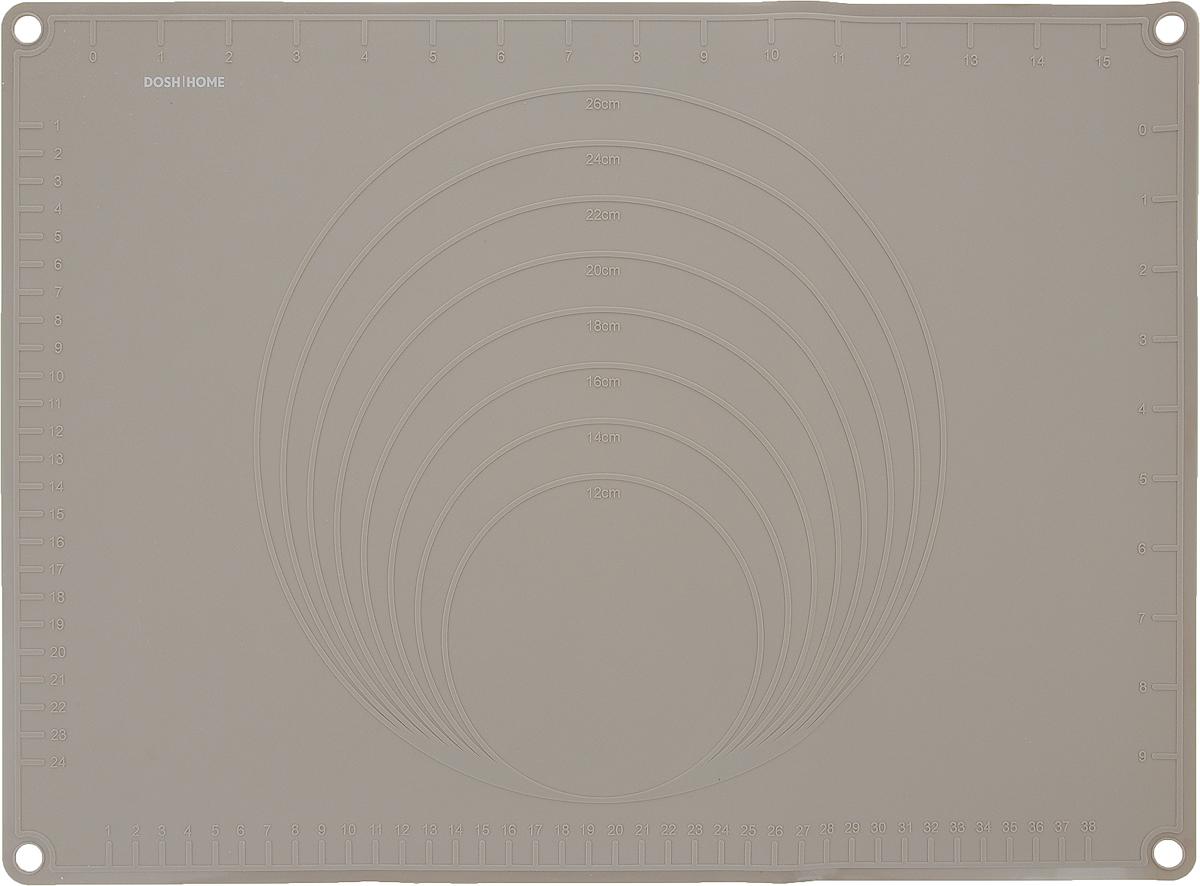 Лист силиконовый для раскатки теста Dosh Home Gemini, 44 x 32 смZK123-015Отлично подходит для раскатки теста. Идеально ложится на поверхность стола, тесто к нему не прилипает, после использования можно скатать или свернуть. Легко моется и не впитывает запахи, гигиеничен. На поверхность нанесена сетка для удобства отмеривания и отрезания раскатываемого теста. Жароупорен – можно использовать в качестве подставки под горячее.