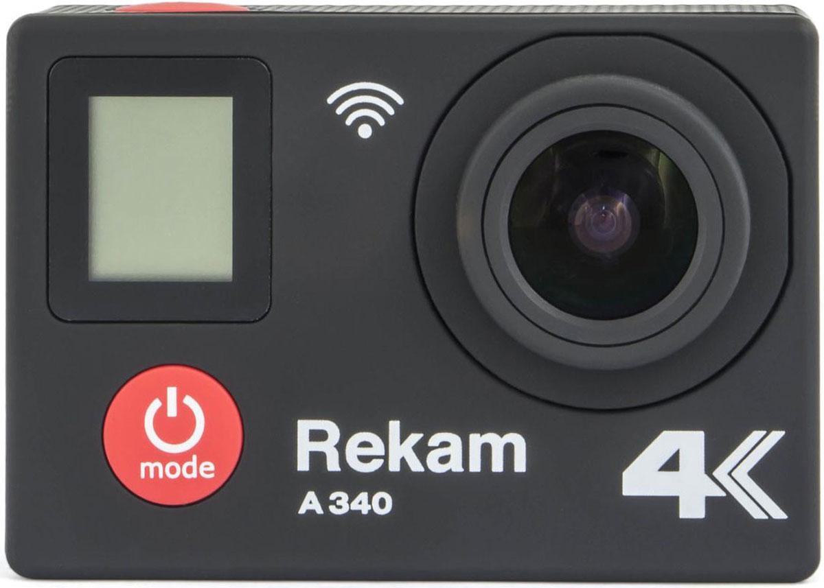 Rekam A340, Black экшн-камера2680000007Rekam A340 - это экшн-камера формата 4K. Поддерживаются передовые режимы видеосъемки и наиболее часто используемый формат FullHD 1080p (30 или 60 кадров/с).Модель оснащена большим тыловым и фронтальным ЖК-дисплеем, широким набором различных креплений и защитным боксом, который предотвратит попадание пыли и влаги на камеру, позволяя записывать самые разнообразные видеосюжеты.Максимальное время записи 150 минут при установленном аккумуляторе 900 мАч. Предусмотрен слот для microSD-карты, благодаря которой отснятый материал автоматически сохраняется.Как выбрать экшн-камеру. Статья OZON Гид