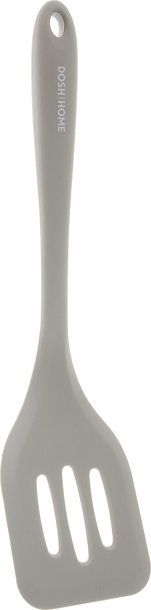 Лопатка силиконовая с отверстиями Dosh Home Gemini, цвет: серый. 300332300332Силиконовая лопатка отлично подходит для смешивания, растирания в посуде из стекла, пластика и нержавеющей стали, а также в посуде с антипригарным покрытием (включая сковородки), не повреждает поверхность. Изготовлено из высококачественного термостойкого силикона. Можно мыть в посудомоечной машине.