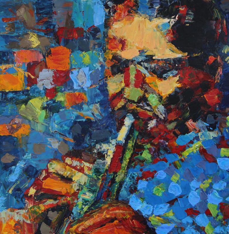 Картина Джаз. Кларнет, холст, масло, 50х50 см хоби жд росо где николаев