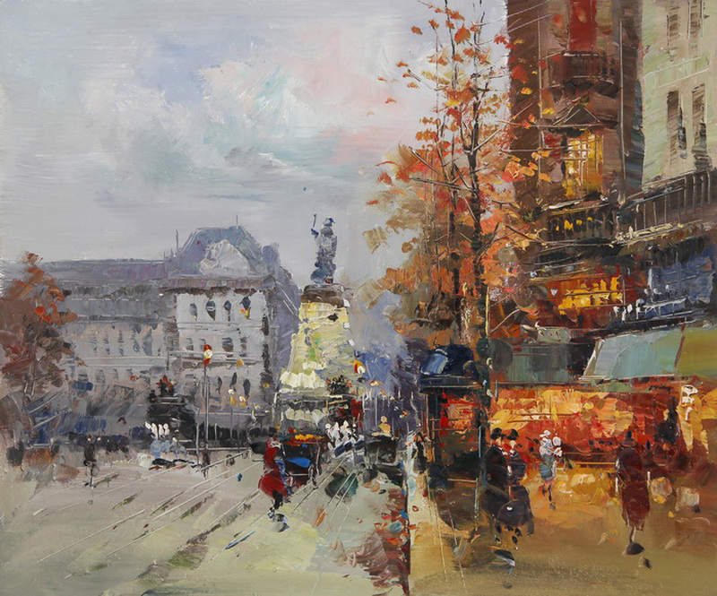 Картина Осенний Париж. Площадь Республики, холст, масло, 50х60 см