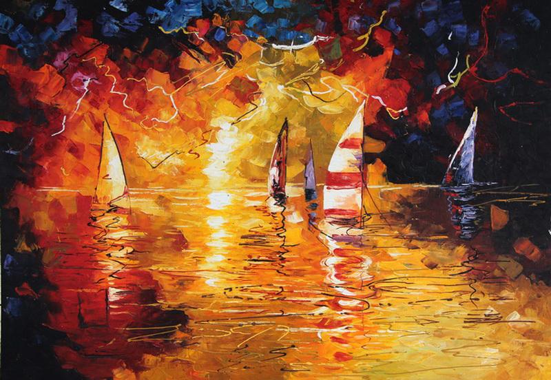 Картина Море. Яхты, холст, масло, 50х70 смАРТ 17КЕ04Авторская живопись маслом на холсте. Размер 50 х70 см.