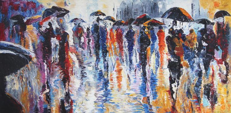 Картина Дождь. Зонтики, холст, масло, 40х80 смАРТ 17КЕ03Авторская живопись маслом на холсте. Размер 40 х80 см.