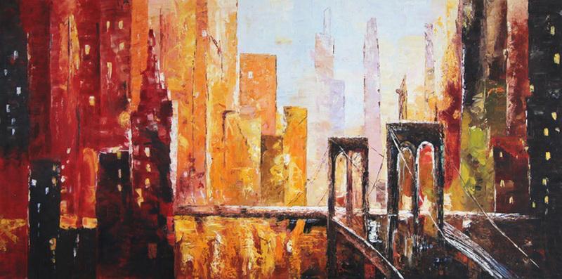Картина Нью-Йорк, холст, масло, 40х80 смАРТ 17КЕ02Авторская живопись маслом на холсте. Размер 40 х80 см.
