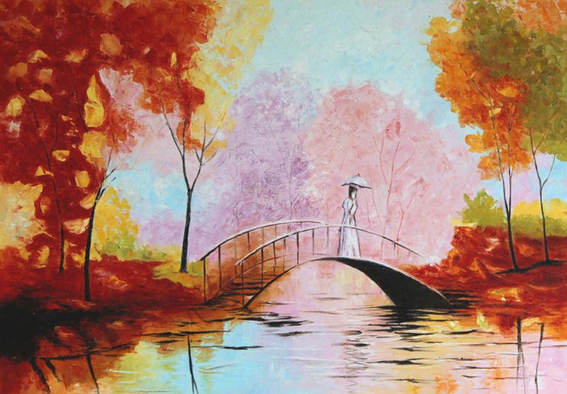 Картина В парке, холст, масло, 50х70 смАРТ 17КЕ01Авторская живопись маслом на холсте. Размер 50 х70 см.