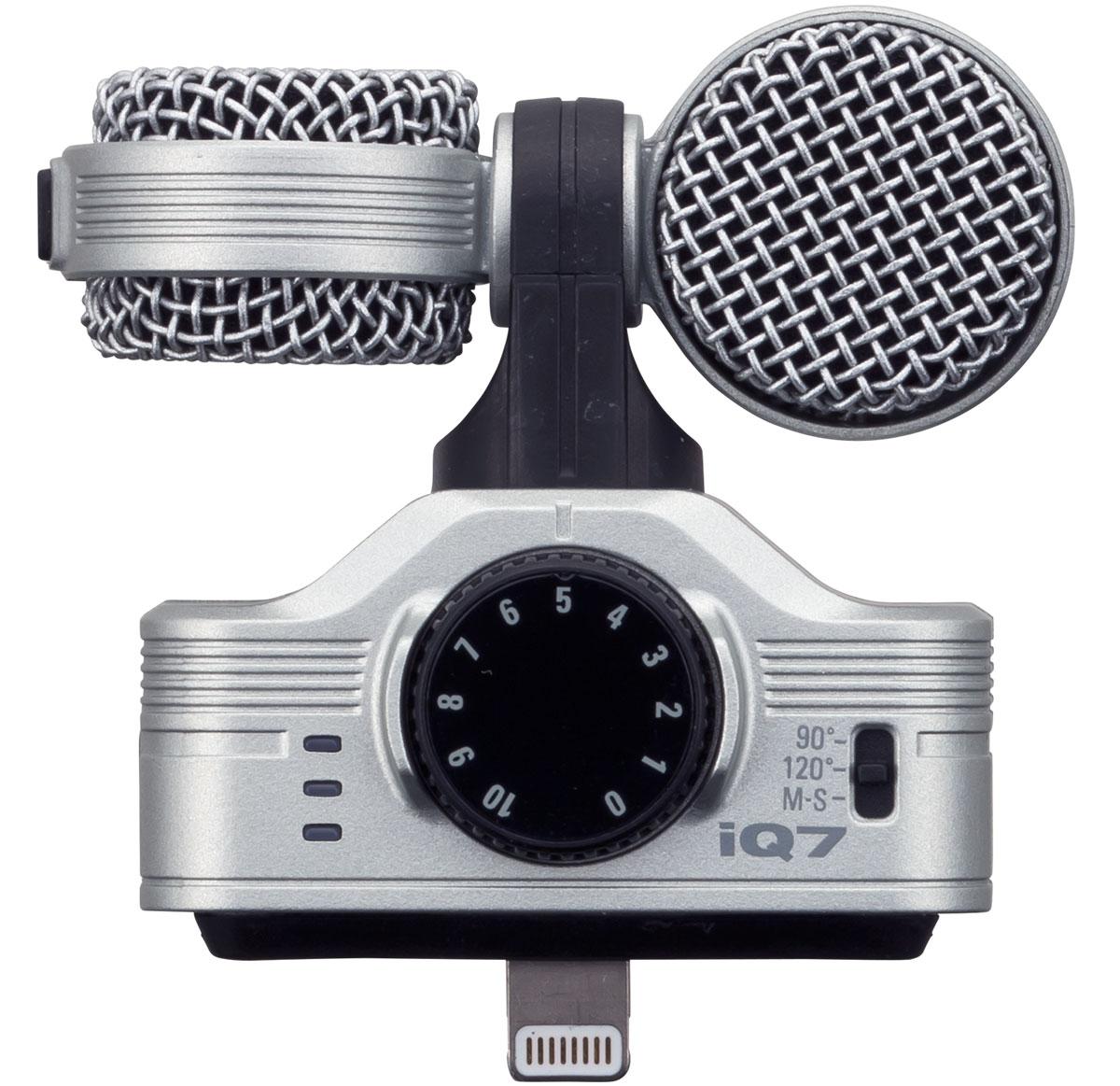 Zoom IQ7, Black iOS-совместимый микрофонIQ7Встречайте Zoom iQ7 – съемный микрофон для iPhone, iPad и iPod TouchПодключив Zoom iQ7 к вашему iOS-устройству, приготовьтесь перенести свою аудиозапись на абсолютно новый уровень. Это компактное устройство, которое поместится в вашем кармане, представляет собой полноценный конденсаторный стерео микрофон типа Mid-Side. Он идеально подойдет для записи музыки, а также для записи аудио при видеосъемке. При помощи iQ7 вы сможете производить аудиозапись профессионального качества прямо с вашего iPhone, iPad или iPod Touch вне зависимости от того, где вы находитесь.Создавайте и вводите новшестваПодключите iQ7 к вашему iOS-устройству и оставьте свой след в истории. Записывайте качественный звук, который сможет произвести на людей впечатление. Станьте оператором вместо того, чтобы быть наблюдателем.Всесторонний контрольСтерео микрофон iQ7 предлагает пользователю продвинутые функции, которые позволят создавать экстраординарные аудиозаписи в любом месте и в любое время. Большая передняя ручка усиления микрофона позволит вам с легкостью подобрать оптимальный уровень усиления, а трехсегментный индикатор поможет вам убедиться в том, что записываемый звук будет чистым, ясным без каких-либо перегрузок.Вдобавок к этому, в вашем распоряжении выделенный выход для наушников, который позволит вам производить мониторинг аудио как во время воспроизведения, так и прямо во время записи.Расширенная совместимостьZoom iQ7 совместим со всеми iOS-устройствами, имеющими порт Lightning. Микрофон оснащен удлиненным разъемом Lightning и имеет съемную разделительную прокладку, которая позволяет использовать IQ7 с большинством видов чехлов для iPhone, iPad и iPod touch. Для установки микрофона даже не потребуется снимать чехол.Идеальная запись в любых условияхБлагодаря вращающемуся механизму iQ7 обеспечивается правильная ориентация левого и правого стерео каналов записи вне зависимости от того для каких целей вы записываете звук.Mid-Side записьMid-Side это п