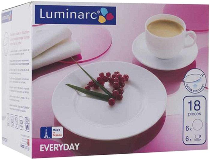 Сервиз кофейный Luminarc Every Day, 18 предметовД4639Кофейный набор выполнен из высококачественного упрочненного стекла французской торговой марки Luminarc и, безусловно, удовлетворит запросы самого взыскательного покупателя. Набор из матового белого стекла включает шесть нарядных кофейных пар и шесть десертных тарелок. Кофейный набор прекрасно подойдет как для повседневной, так и для праздничной сервировки. Размеры изделий: чашка - объем 190 мл, верхний диаметр 85 мм, высота 50 мм; блюдце - диаметр 140 мм; тарелка - диаметр 190 мм.