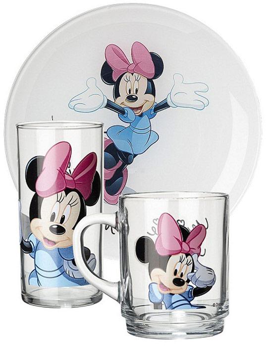 Набор столовой посуды Luminarc Minnie, детский, 3 предметаИ2626/Н5321Детский набор посуды Luminarc Minnie состоит из тарелки, кружки и стакана. Изделия выполнены из ударопрочного стекла. Посуда отличается прочностью, гигиеничностью и долгим сроком службы, она устойчива к появлению царапин и резким перепадам температур. Такой набор привлечет внимание вашего ребенка и не позволит ему скучать. Яркий дизайн посуды превратит прием пищи ребенка в увлекательное занятие. Диаметр тарелки: 20,5 см. Объем стакана: 270 мл. Объем кружки: 250 мл.