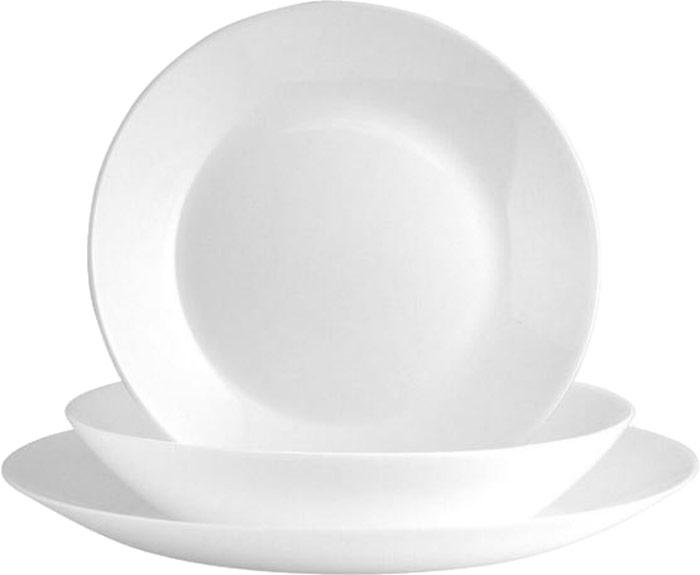 Сервиз обеденный Luminarc Zelie, 18 предметовК4200Столовый сервиз Zelie Arcopal состоит из 18 предметов на 6 персон изготовлен из однотонного белого стекла с кремовым оттенком. Набор состоит из 18 тарелок, а именно:6 тарелок обеденных, диаметром 25см6 тарелок десертных, диаметром 18см6 тарелок суповых, диаметром 20см