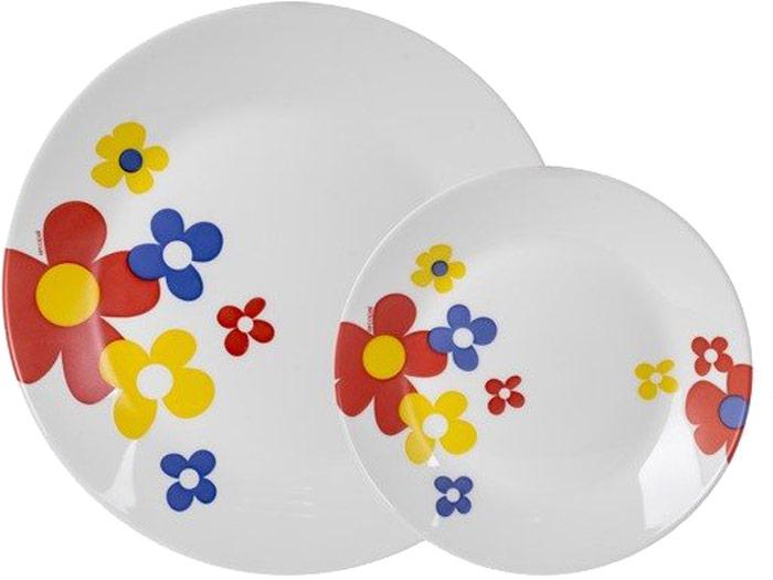 Производитель: Arcopal, ФранцияЦвет: белый с рисункомКоличество предметов, шт: 12Сервиз столовый Arcopal Celestine состоит из:— 6 десертных тарелок 19 см;— 6 обеденных тарелок 25 см;Материал: — стеклокерамика