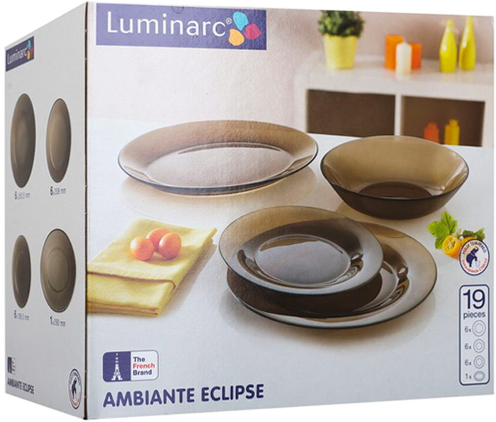 Сервиз обеденный Luminarc Амбьянте, 19 предметовК9371Сервиз рассчитан на 6 персон. В состав сервиза входят: тарелки обеденные, 25 см - 6 шт.,тарелки глубокие (суповые), 21 см - 6 шт.,тарелки десертные, 19 см - 6 шт.,салатник большой 24 см - 1 шт.