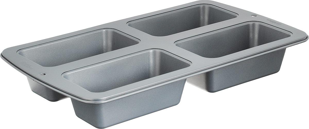 Форма для выпечки кексов Wilton, прямоугольных, 4 ячейкиWLT-2105-9101Используется для выпечки 4 кондитерских изделий. Все формы коллекции Recipe Right сделаны из тяжелой стали, что обеспечивает равномерное распределение тепла и прекрасно пропеченную выпечку с коричневой корочкой. Антипригарное покрытие позволяет легко доставать изделие из формы и минимизирует чистку. Можно мыть в посудомоечной машине. Материал: сталь