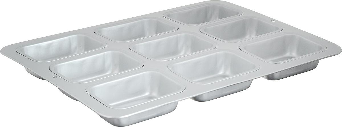 Форма для выпечки Wilton Прямоугольные кексы, 9 ячеекWLT-2105-8466Используется для выпечки кондитерских изделий. Форма для изготовления 9 длинных кексиков, размером 6 х 8 х 4 см. Материал: алюминий.