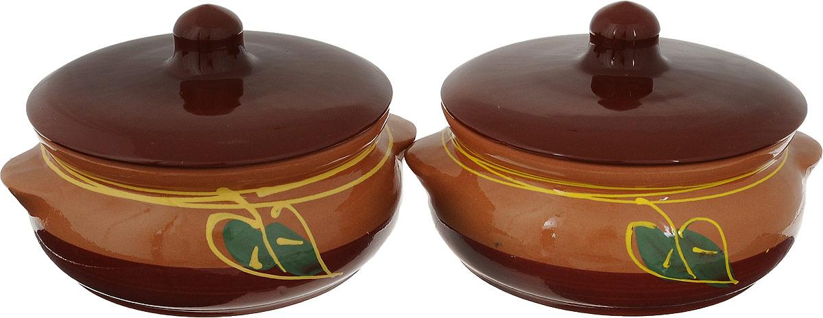 Набор горшочков для запекания Борисовская керамика Стандарт, 700 мл, 2 шт набор горшочков для запекания борисовская керамика стандарт с крышками цвет коричневый зеленый белый 500 мл 4 шт