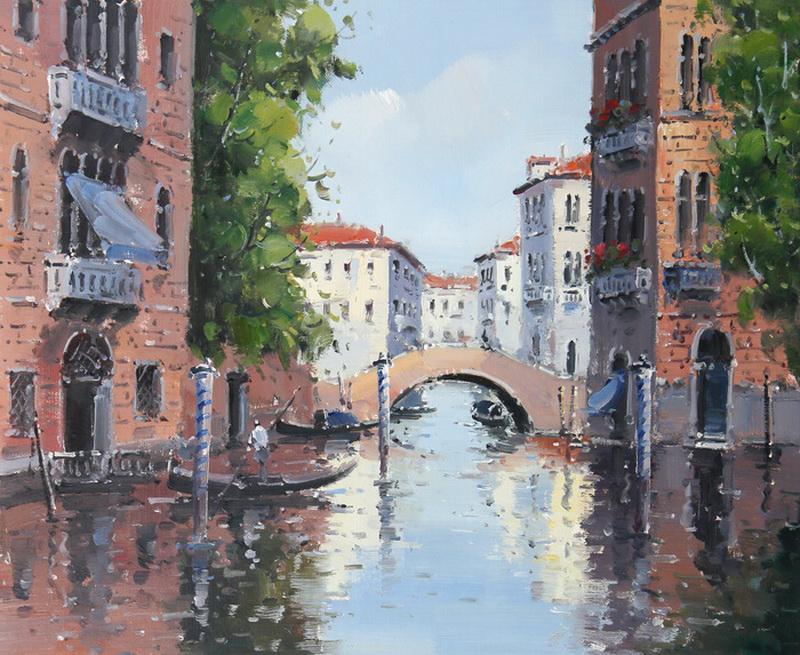 Картина Венецианский канал, холст, масло, 50х60 смАРТ 17Б01Авторская живопись маслом на холсте. Размер 60 х50 см.