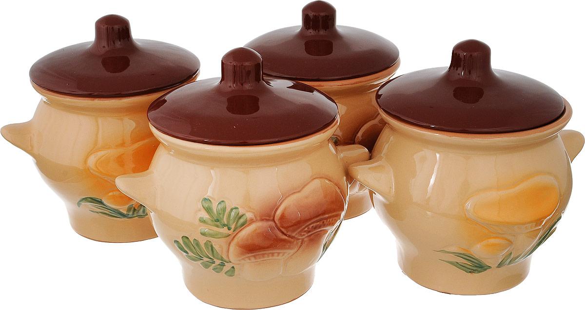 Набор горшочков для запекания Борисовская керамика Лесной, 650 мл, 4 шт набор горшочков для запекания борисовская керамика стандарт с крышками цвет коричневый зеленый белый 500 мл 4 шт