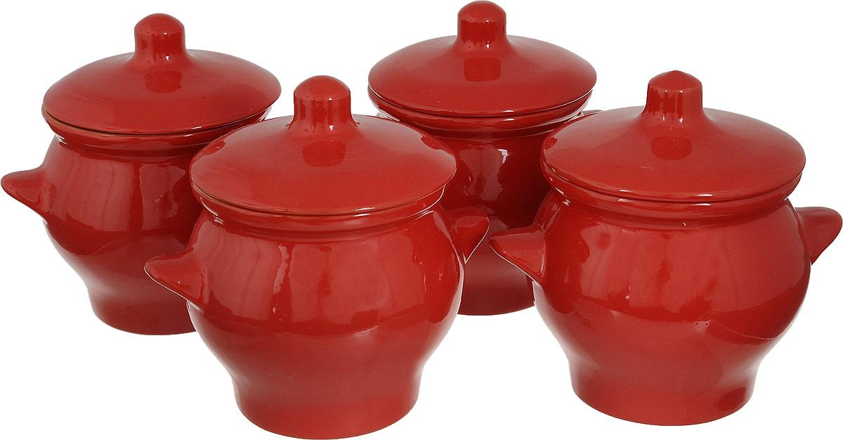 Набор горшочков для запекания Борисовская керамика Красный, 650 мл, 4 шт