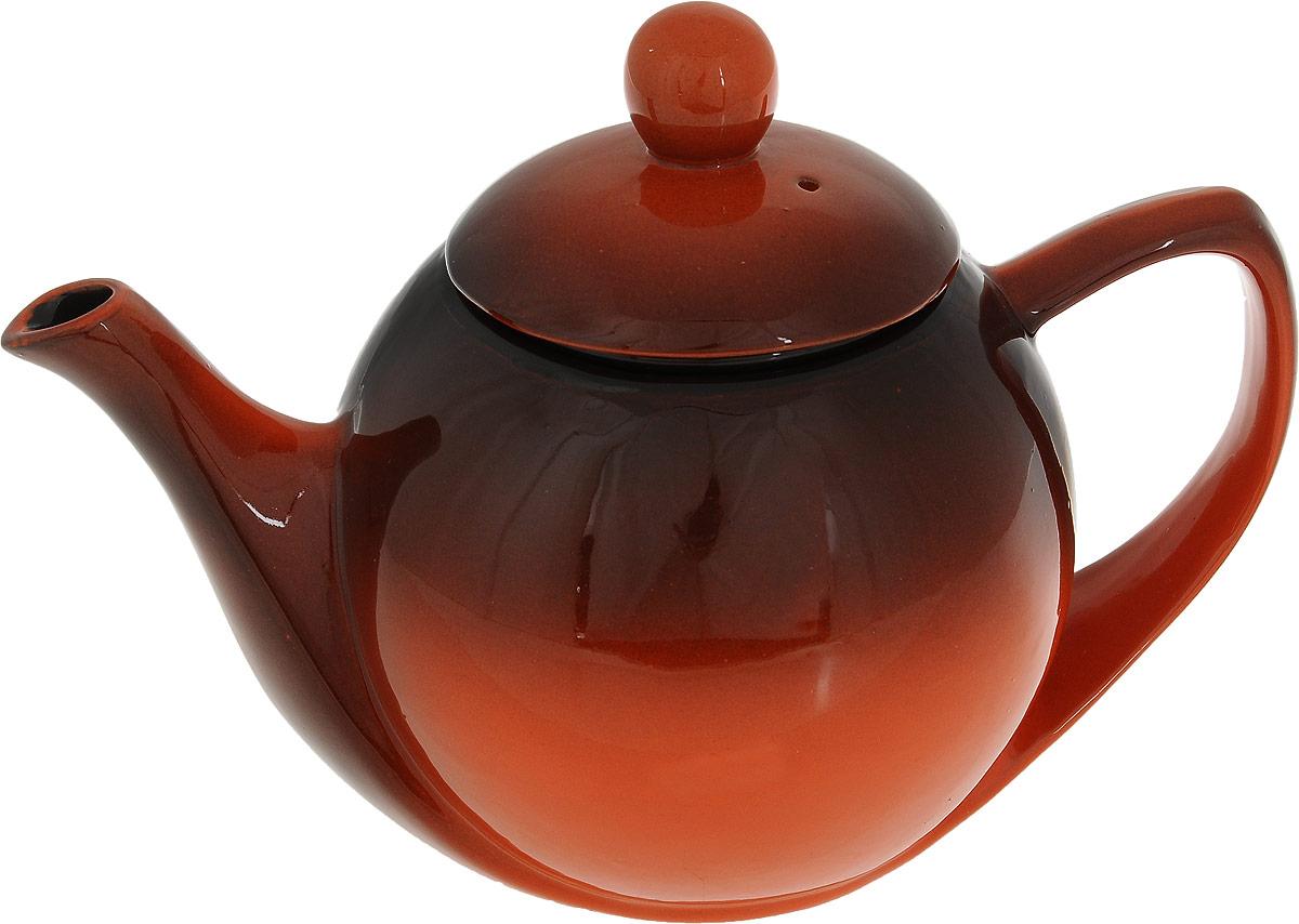Чайник заварочный Борисовская керамика Элегант, цвет: оранжевый, коричневый, 1,2 лРАД00003447Чайник Элегант РАД00003447. Материал: Керамика. Объем: 0,45