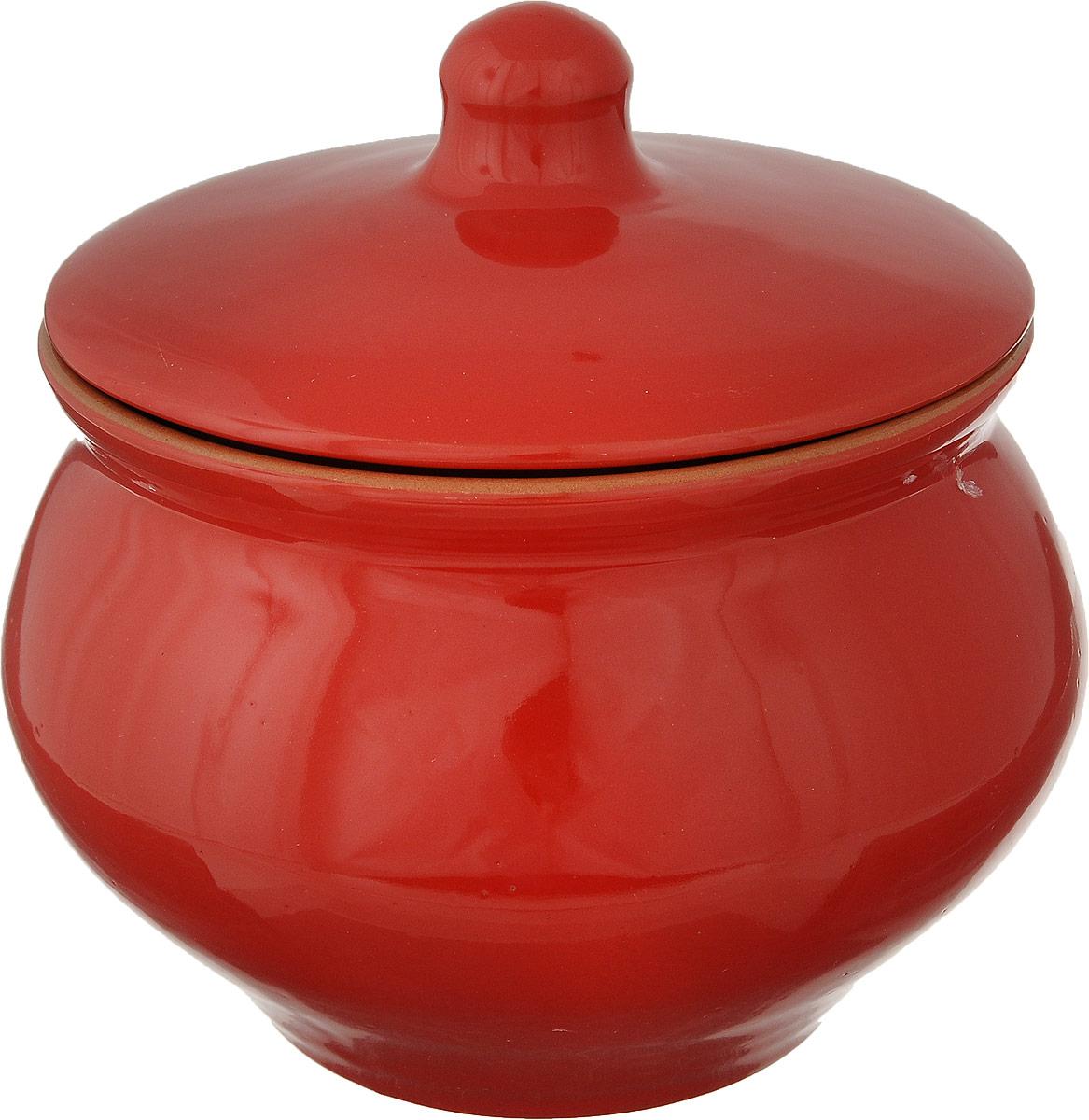 Горшочек для запекания Борисовская керамика Красный, 1,3 л