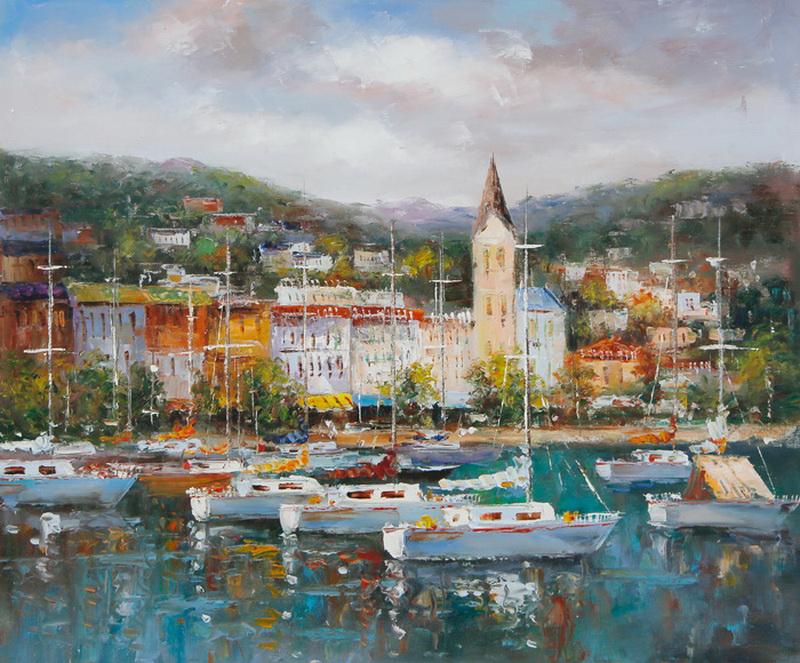 Картина Средиземноморский городок, холст, масло, 50х60 смАРТ 17А03Авторская живопись маслом на холсте. Размер 60 х50 см.