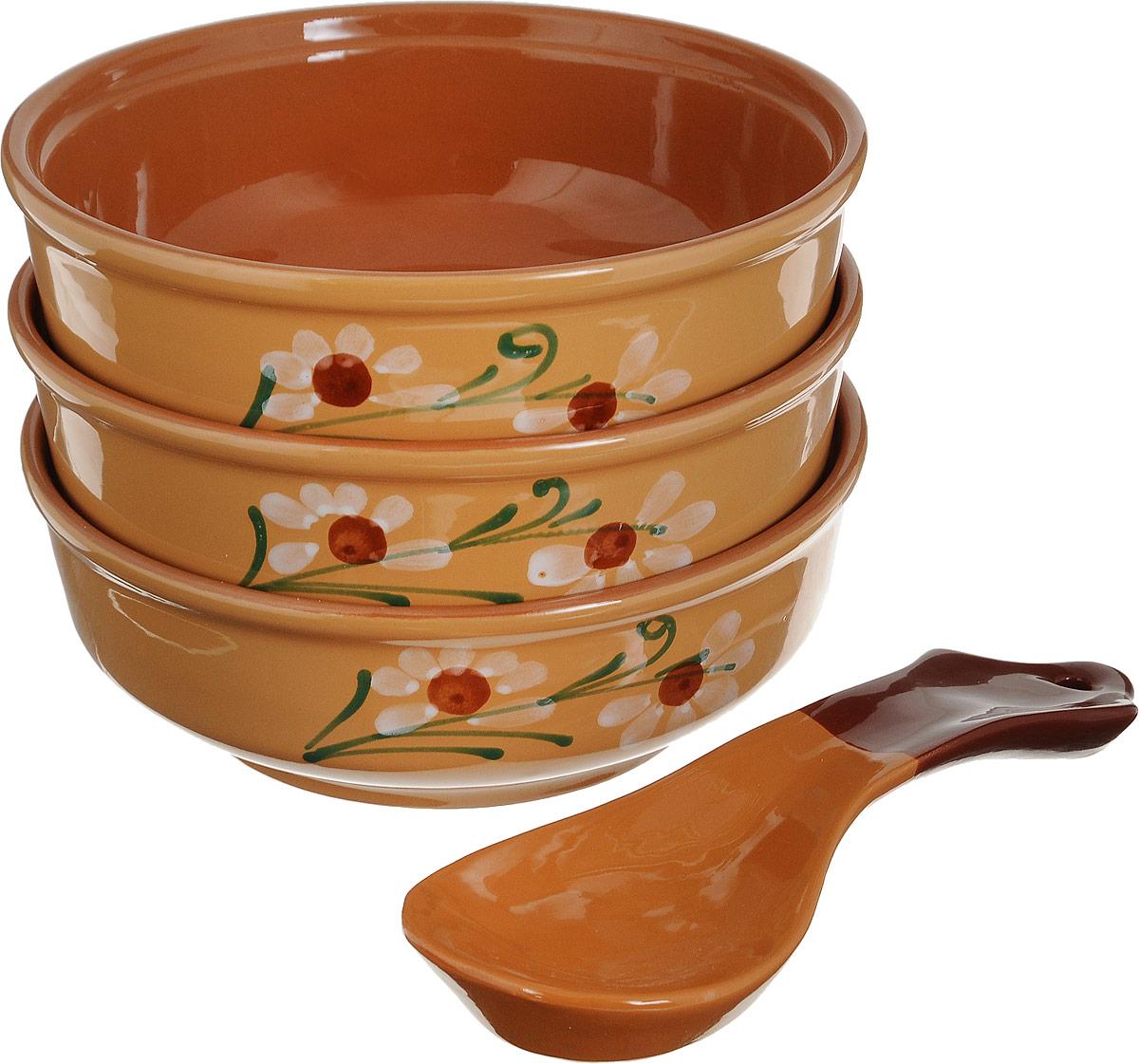Набор столовой посуды Борисовская керамика Русский, 80 мл, 4 предмета набор столовой посуды борисовская керамика на троих цвет синий белый 4 предмета