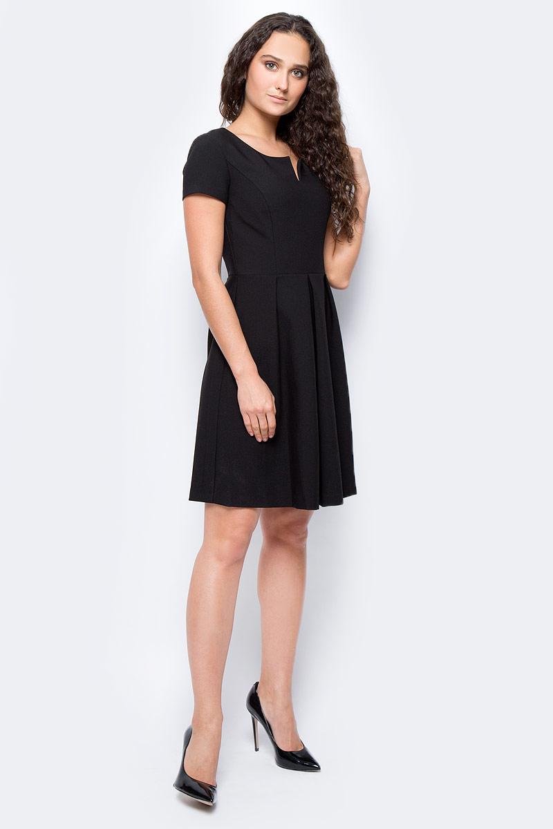 Платье женское adL, цвет: черный. 12432939000_001. Размер XS (40/42)12432939000_001Стильное платье, выполненное из комбинированного материала, отлично дополнит ваш гардероб. Модель с круглым вырезом горловины и короткими рукавами на спинке имеет застежку-молнию.