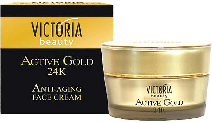 VictoriaBeauty Крем для лица Victoria Beauty Active gold 24 k, 50 мл770396Крем против старения Victoria Beauty с золотом, роскошный уход за лицом, делает вашу кожу выглядеть моложе, более гладкой и сияющей. Содержащиеся частицы золота, коллаген и гиалуроновая кислота помогают предотвратить появление тонких линий и морщин, улучшить эластичность и упругость кожи. Увлажняют ее и придают сияющий вид. Подходит для всех типов кожи.
