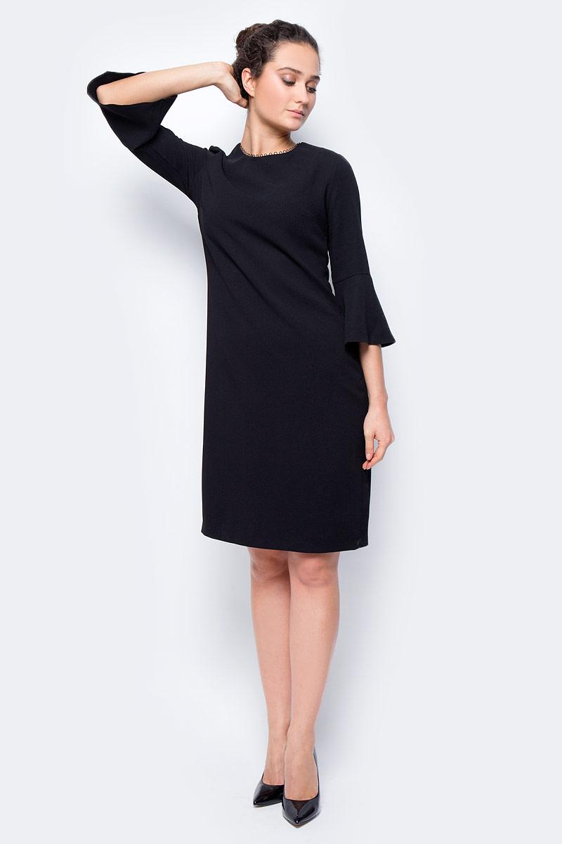 Платье женское adL, цвет: черный. 12432152000_001. Размер S (42/44)12432152000_001Стильное платье свободного покроя выполнено из полиэстера. Модель с рукавами 7/8 и круглым вырезом горловины отлично дополнит ваш гардероб.