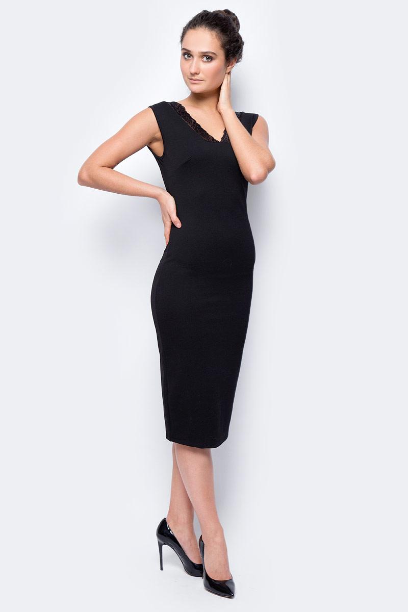 Платье женское adL, цвет: черный. 12432057000_001. Размер XS (40/42)12432057000_001Элегантное платье макси длины выполнено из комбинированного материала. Модель без рукавов с V-образным вырезом горловины на спинке дополнено застежкой-молнией. Горловина декорирована кружевной вставкой.