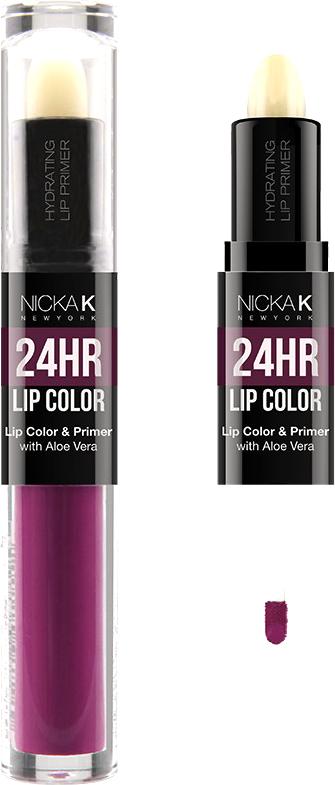 Nicka K NY 24HR Lip Color губная помада, 1,5 мл, оттенок DEEP FUCHSIA017502Богатый цвет в сочетании с увлажняющим праймером, обеспечивающим длительный матовый эффект. Праймер для губ подготавливает губы, продлевает стойкость макияжа, улучшает внешний вид последующего мэйкапа, делает цвет более чистым и насыщенным. Цветовая гамма губных помад предлагает множество сочных оттенков под любой вид повседневной одежды, которая будет дополнять и выделять любое настроение, в котором вы находитесь.