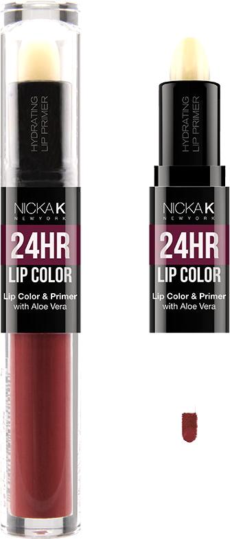 Nicka K NY 24HR Lip Color губная помада, 1,5 мл, оттенок BURGUNDY017502Богатый цвет в сочетании с увлажняющим праймером, обеспечивающим длительный матовый эффект. Праймер для губ подготавливает губы, продлевает стойкость макияжа, улучшает внешний вид последующего мэйкапа, делает цвет более чистым и насыщенным. Цветовая гамма губных помад предлагает множество сочных оттенков под любой вид повседневной одежды, которая будет дополнять и выделять любое настроение, в котором вы находитесь.