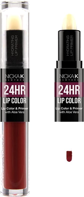 Nicka K NY 24HR Lip Color губная помада, 1,5 мл, оттенок WINE017502Богатый цвет в сочетании с увлажняющим праймером, обеспечивающим длительный матовый эффект. Праймер для губ подготавливает губы, продлевает стойкость макияжа, улучшает внешний вид последующего мэйкапа, делает цвет более чистым и насыщенным. Цветовая гамма губных помад предлагает множество сочных оттенков под любой вид повседневной одежды, которая будет дополнять и выделять любое настроение, в котором вы находитесь.Какая губная помада лучше. Статья OZON Гид