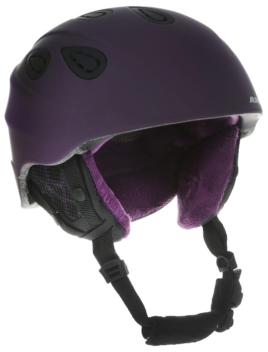 Шлем горнолыжный Alpina Grap 2.0 LE, цвет: фиолетовый. A9094_51. Размер 54-57A9094_51Шлем горнолыжный Alpina Grap 2.0 LE - одна из самых популярных моделей в каталоге горнолыжных шлемов Alpina. Надежный, многоцелевой шлем для широкого круга райдеров. L.E. - Limited Edition - ограниченная серия шлемов, выполненная в уникальной расцветке. Интенсивность воздушного потока можно регулировать. Вентиляционные отверстия шлема могут быть открыты и закрыты раздвижным механизмом. Съемные ушки-амбушюры можно снять за секунду и сложить в карман лыжной куртки. Если вы наслаждаетесь катанием в начале апреля, такая возможность должна вас порадовать. А когда температура снова упадет - щелк и вкладыш снова на месте. Внутренник шлема легко вынимается, стирается, сушится и вставляется обратно. Прочная и легкая конструкция In-mold. Тонкая и прочная поликарбонатная оболочка под воздействием высокой температуры и давления буквально сплавляется с гранулами EPS, которые гасят ударную нагрузку. Внутренняя оболочка каждого шлема Alpina состоит из гранул HI-EPS (сильно вспененного полистирола). Микроскопические воздушные карманы эффективно поглощают ударную нагрузку и обеспечивают высокую теплоизоляцию. Эта технология позволяет достичь минимальной толщины оболочки. А так как гранулы HI-EPS не впитывают влагу, их защитный эффект не ослабевает со временем. Из задней части шлема можно достать шейный утеплитель из мягкого микро-флиса. Этот теплый воротник также защищает шею от ударов на высокой скорости и при сибирских морозах. В удобной конструкции отсутствуют точки давления на шею. Вместо фастекса на ремешке используется красная кнопка с автоматическим запирающим механизмом, которую легко использовать даже в лыжных перчатках. Механизм защищен от произвольного раскрытия при падении. Ручка регулировки Run System Classic в задней части шлема позволяет за мгновение комфортно усадить шлем на затылке. Y-образный ремнераспределитель двух ремешков находится под ухом и обеспечивает быструю и точную посад