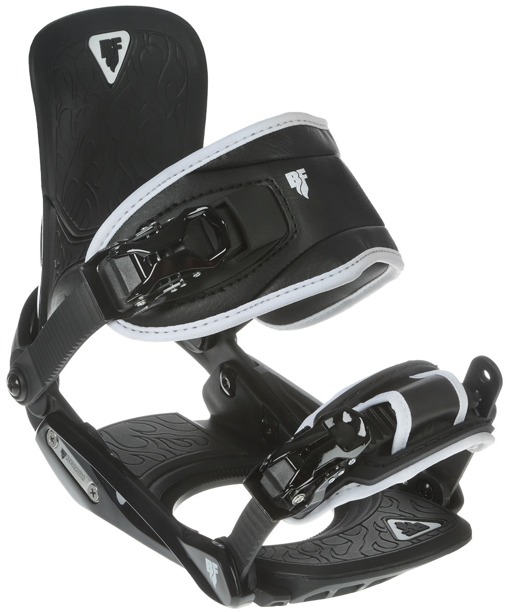 Крепления для сноуборда BF Snowboards Scoop. Размер S/M9333725271099Отличные сноубордичесткие крепления для начинающих и прогреcсирующих райдеров. Специальная удобная конструкция ремешка не передавливает ботинок. Регулировка газ педали позволяет усилить передачу энергии от ног к доске. Надежные металлические клипсы. Дизайн специально разработан для серии сноубордов Scoop!