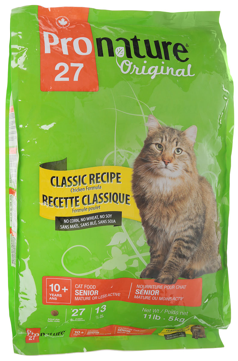 Корм сухой Pronature Original 27, для кошек, облегченный, с цыпленком, 5 кг102.402.1Повзрослев и став менее активной, ваша кошка по-прежнему нуждается втщательно подобранном рационе с учетом физиологических потребностей ивкусовой избирательности. Приготовленная с вниманием и заботой формулакорма Pronature Original с курицей, без кукурузы, пшеницы и сои, содержит в себевсе питательные вещества, необходимые для поддержания здоровья и внешнего вида. Формула де-люкс - для прекрасного самочувствия вашего питомца!Состав:Мука из мяса курицы, рис пивной, круглый ячмень, куриный жир, сохраненный смесью натуральных токоферолов (витамин Е), зерна овса, сушеная мякоть свеклы, натуральный ароматизатор, дрожжевая культура, лецитин, цельное льняное семя (источник омега-3 жирных кислот), сушеная мякоть томата, лососевый жир, холина хлорид, калия хлорид, кальция пропионат, соль, натрия бисульфат, глюкозамина сульфат, таурин, железа сульфат, дрожжевой экстракт, экстракт цикория (источник инулина), хондроитина сульфат, экстракт юкки Шидигера, сушеная клюква, сушеный розмарин, цинка оксид, сушеный тимьян, альфа-токоферол ацетат (витамин Е), никотиновая кислота, натрия селенит, пиридоксина гидрохлорид, меди сульфат, фолиевая кислота, кальция иодат, марганца оксид, витамин А, d-кальция пантотенат, тиамина мононитрат, рибофлавин, биотин, витамин В12, холекальциферол (витамин Д3), кобальта карбонат, менадион натрия бисульфитный комплекс (активный витамин К3). Товар сертифицирован.Чем кормить пожилых кошек: советы ветеринара. Статья OZON Гид