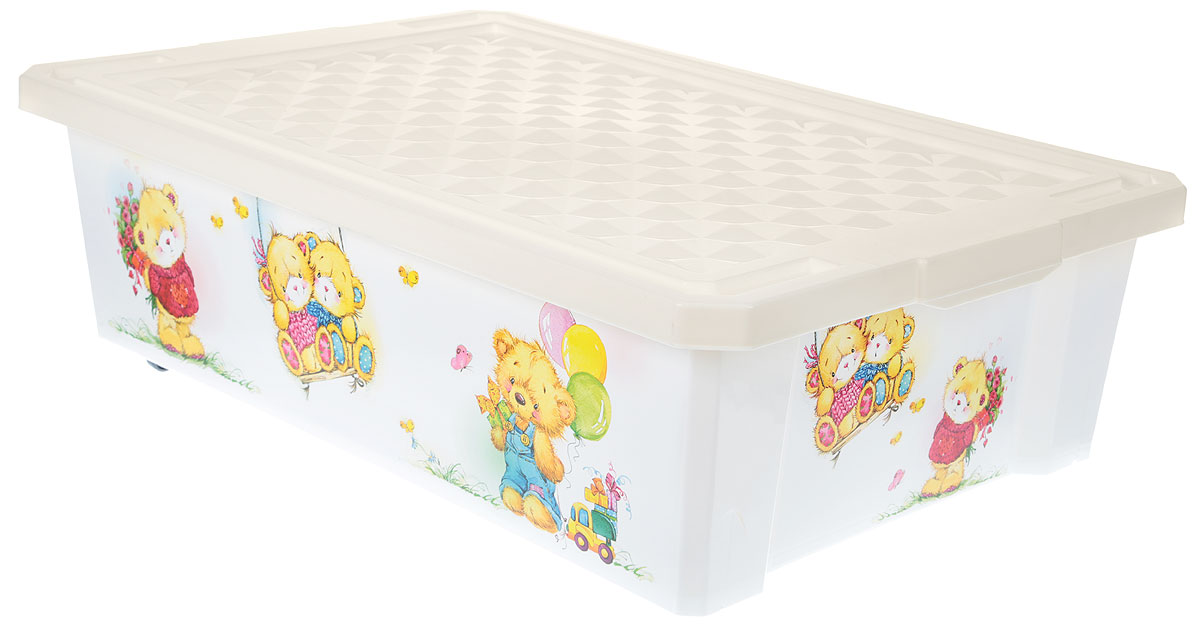 Little Angel Ящик для игрушек X-Box Bears на колесах 30 л цвет слоновая кость белый little angel ящик для игрушек x box малышарики 17 л
