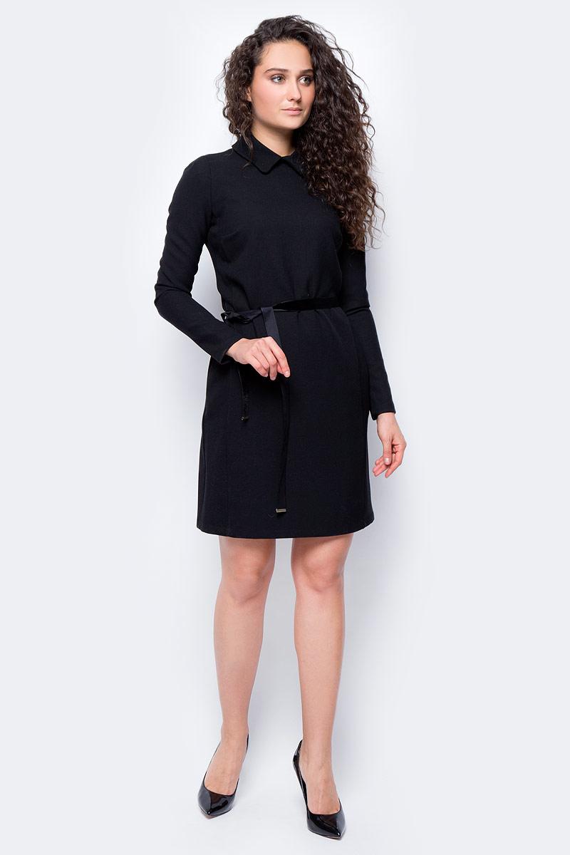 Платье женское adL, цвет: черный. 12432193000_001. Размер S (42/44)12432193000_001Стильно платье, выполненное из комбинированного материала, отлично дополнит ваш гардероб. Модель с длинными рукавами и отложным воротником на спинке имеет застежку молнию и дополнено поясом. По бокам платье оснащено втачными карманами.