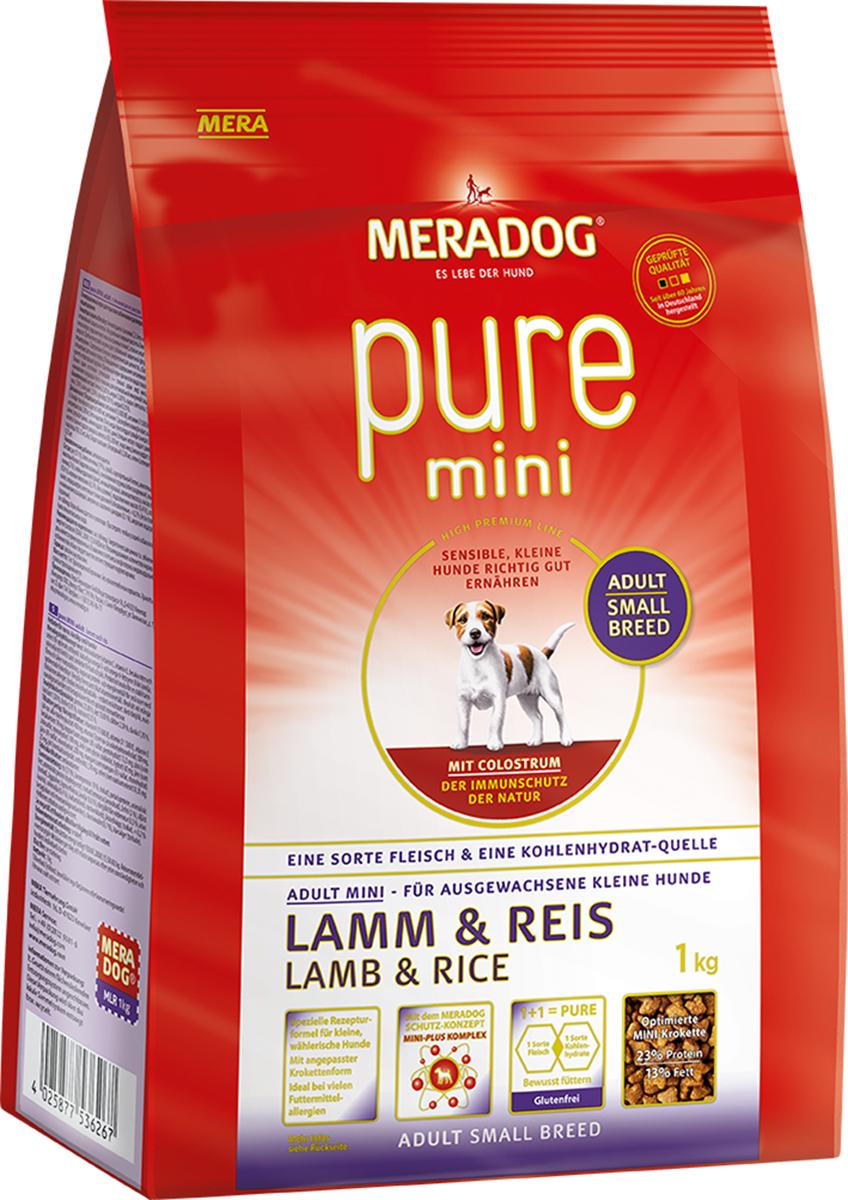 Корм сухой Meradog Pure Mini. Lamm & Reis, для собак мелких пород с проблемами в питании и аллергиями, с ягненком и рисом, 1 кг53626Полноценный ежедневный рацион для взрослых собак маленьких и карликовых пород. Позволяет сформировать и поддержать у собаки сильный природный иммунитет. В составе только натуральные ингредиенты: молозиво, мясо ягненка (гипоаллергенный белок), рис (гипоаллергенный углевод). Подходит для взрослых собак. Подходит для собак с проблемами в питании и/или аллергиями. Отличие корма суперпремиум класса от аналогов: 1) 19% высушенного белка ягненка. 2) Легкое усвоение углеводов: в отличие от других углеводов рис содержит меньше глютена (клейковины), поэтому легче переваривается и не вызывает аллергии. 3) Питательные вещества, содержащиеся в масле лосося способствуют поддержанию здоровой кожи и блестящей шерсти. 4) Корм дополнительно обогащен необходимыми витаминами для полноценной жизнедеятельности. Особенность корма – молозиво в составе. Молозиво считается ценнейшим продуктом для формирования здорового иммунитета питомца, так как содержит иммуноглобулины, минеральные вещества, витамины и факторы роста.Расстройства пищеварения у собак: кто виноват и что делать. Статья OZON Гид