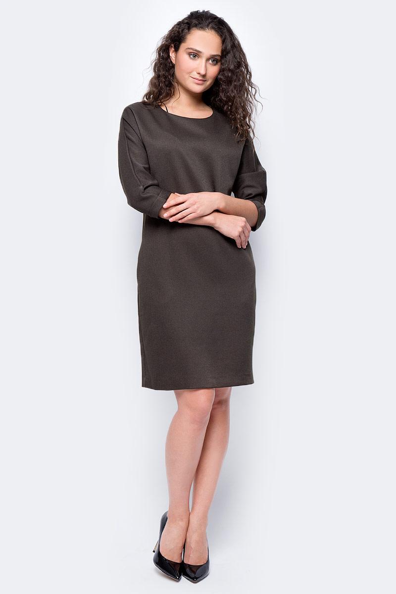 Платье женское adL, цвет: зеленый. 12433196000_034. Размер S (42/44)12433196000_034Стильное платье свободного покроя выполнено из 100% полиэстера. Модель с рукавами 7/8 и круглым вырезом горловины отлично дополнит ваш гардероб. Манжеты рукавов дополнены декоративными отворотами.