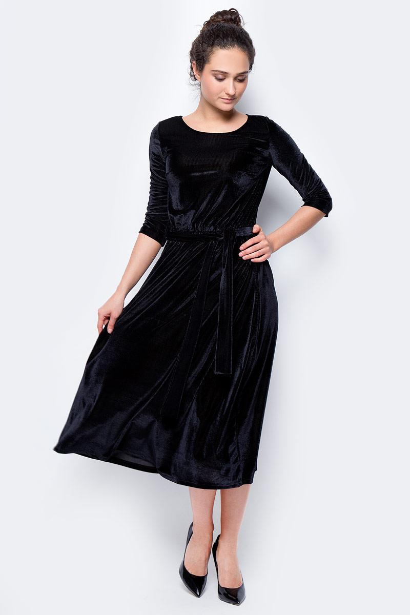 Платье женское adL, цвет: черный. 12433173000_001. Размер S (42/44)12433173000_001Стильное длинное платье, выполненное из эластичного полиэстера, отлично дополнит ваш гардероб. Модель с круглым вырезом горловины и рукавами 3/4 дополнено поясом.