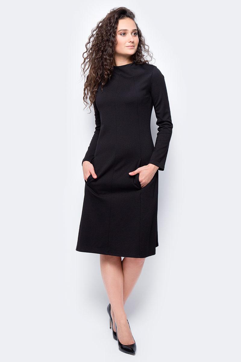 Платье женское adL, цвет: черный. 12433182000_001. Размер S (42/44)12433182000_001Стильное платье приталенного силуэта выполнено из комбинированного материала. Модель с длинными рукавами и воротником-лодочкой отлично дополнит ваш гардероб. Модель сзади застегивается на пуговицы.
