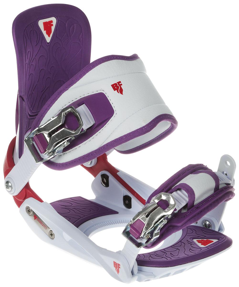 Крепления для сноуборда BF Snowboards SP Lady. Размер S/M9333725271181Красивый и одновременно надежный крепеж для девушек! Специальная удобная конструкция ремешка не передавливает ботинок. Регулировка газ педали позволяет усилить передачу энергии от ног к доске. Надежные металлические клипсы. Дизайн специально разработан для серии сноубордов Special Lady!