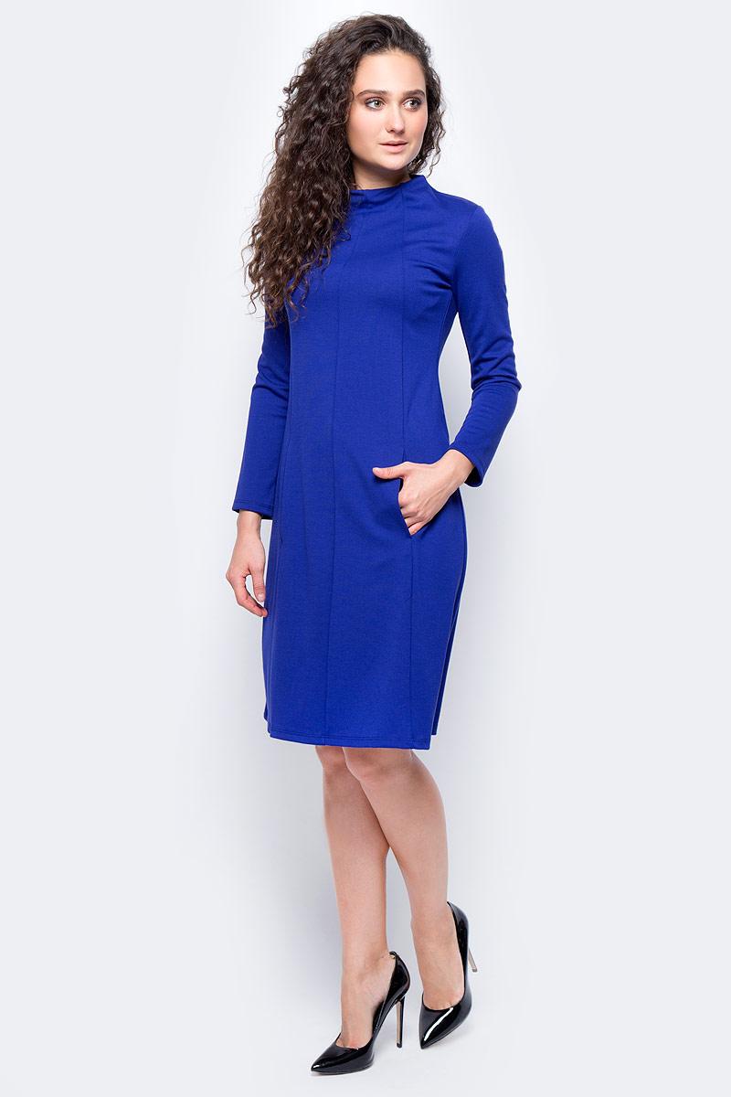 Платье женское adL, цвет: синий. 12433182000_022. Размер L (46/48)12433182000_022Стильное платье приталенного силуэта выполнено из комбинированного материала. Модель с длинными рукавами и воротником-лодочкой отлично дополнит ваш гардероб. Модель сзади застегивается на пуговицы.