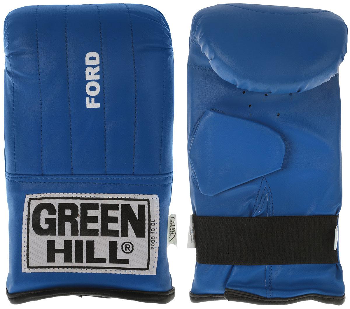 Перчатки снарядные Green Hill Ford, цвет: синий. PMF-2068. Размер MPMF-2068Снарядные перчатки-блинчики Green Hill Ford предназначены для отработки ударов по мешкам и лапам. Не предназначены для спаррингов, так как могут быть травмоопасны для противника. Подойдут для домашнего использования и для начинающих спортсменов. Перчатки выполнены из искусственной кожи с мягким наполнителем внутри. Манжет не резинке позволяет быстро снимать и одевать перчатки, плотно фиксирует их на руке.