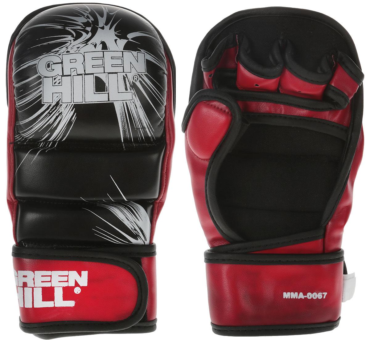 Перчатки для единоборств Green Hill ММА, цвет: черный, красный. Размер S перчатки для рукопашного боя green hill цвет черный размер xl pg 2045