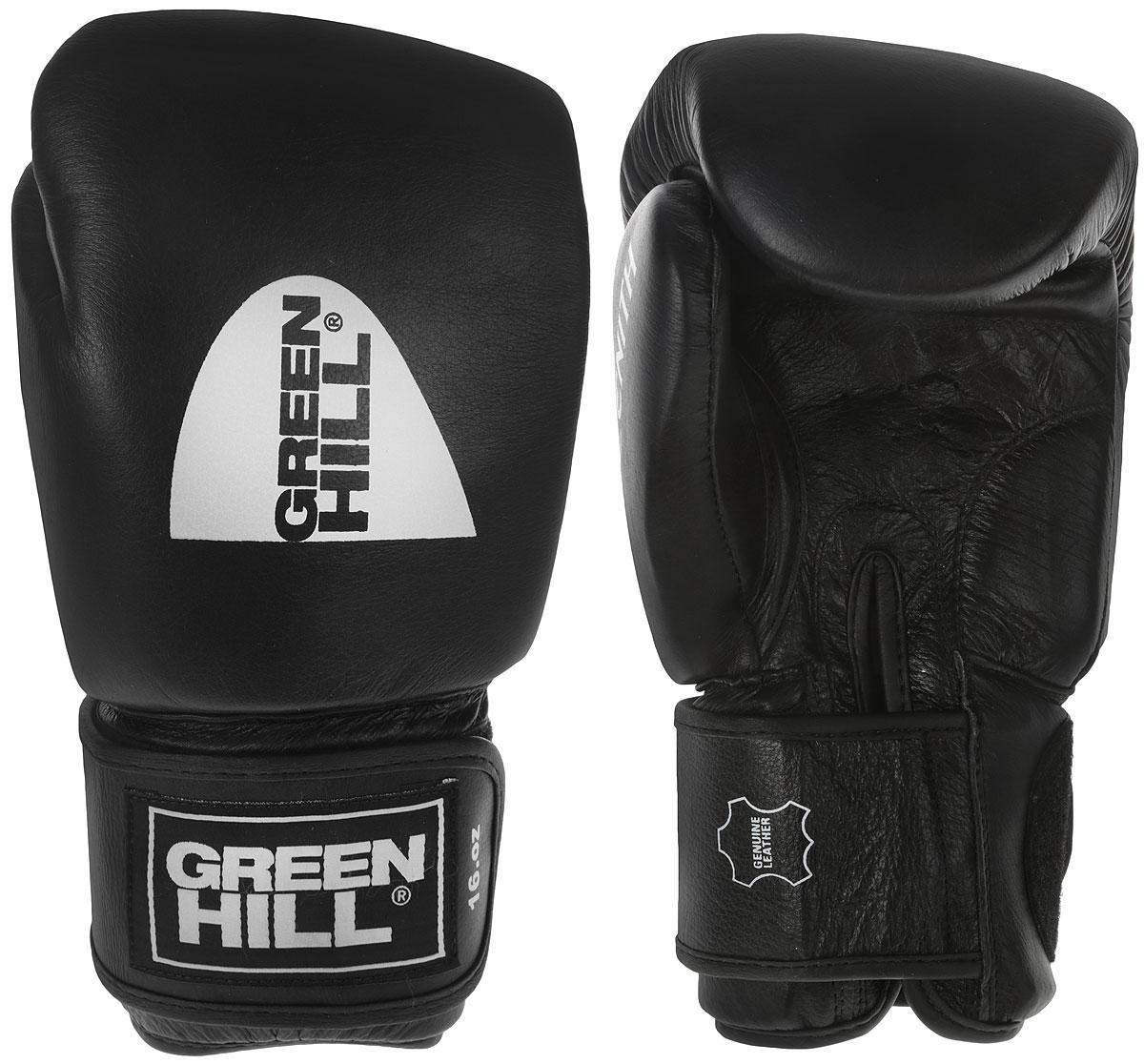 Перчатки боксерские Green Hill Zenith, цвет: черныйBGZ-2017Боксерские перчатки Green Hill Zenith разработаны специально для тайского бокса.Перчатки имеют превосходную посадку на руке и характерную для данных видов спорта форму. Выполнены из натуральной коровьей кожи. Наполнитель перчаток - комбинированная полимерная структура ручной работы из менее плотного внешнего и более плотного внутреннего слоя.Особенности:- Тренировочные боксерские перчатки с манжетой на липучке.- Натуральная коровья кожа.- Многослойный наполнитель ручной работы.Вес 16 унций.