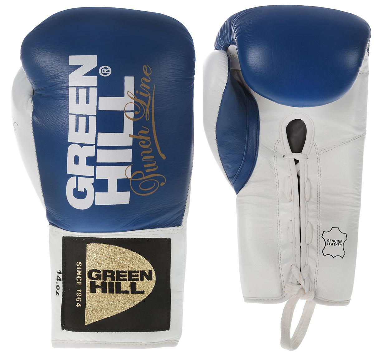 Перчатки боксерские Green Hill Proffi, цвет: синий, белый. Вес 14 унцийBGP-2014BБоксерские перчатки Green Hill Proffi предназначены для профессиональных поединков. Выполнены из натуральной коровьей кожи с наполнителем из многослойной полимерной структуры ручной работы для обеспечения оптимального поглощения силы удара. Яркий, но в то же время сдержанный и стильный дизайн перчаток органично вписывает их в действие профессионального боксерского события.