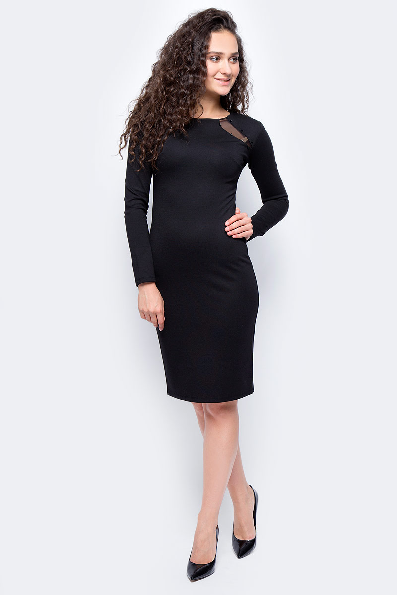 Платье женское adL, цвет: черный. 12433176000_001. Размер XS (40/42)12433176000_001Стильное платье, выполненное из комбинированного материала, отлично дополнит ваш гардероб. Модель с длинными рукавами и круглым вырезом горловины на спинке имеет застежку-молнию.